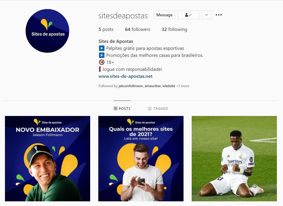 Sites de apostas Instagram