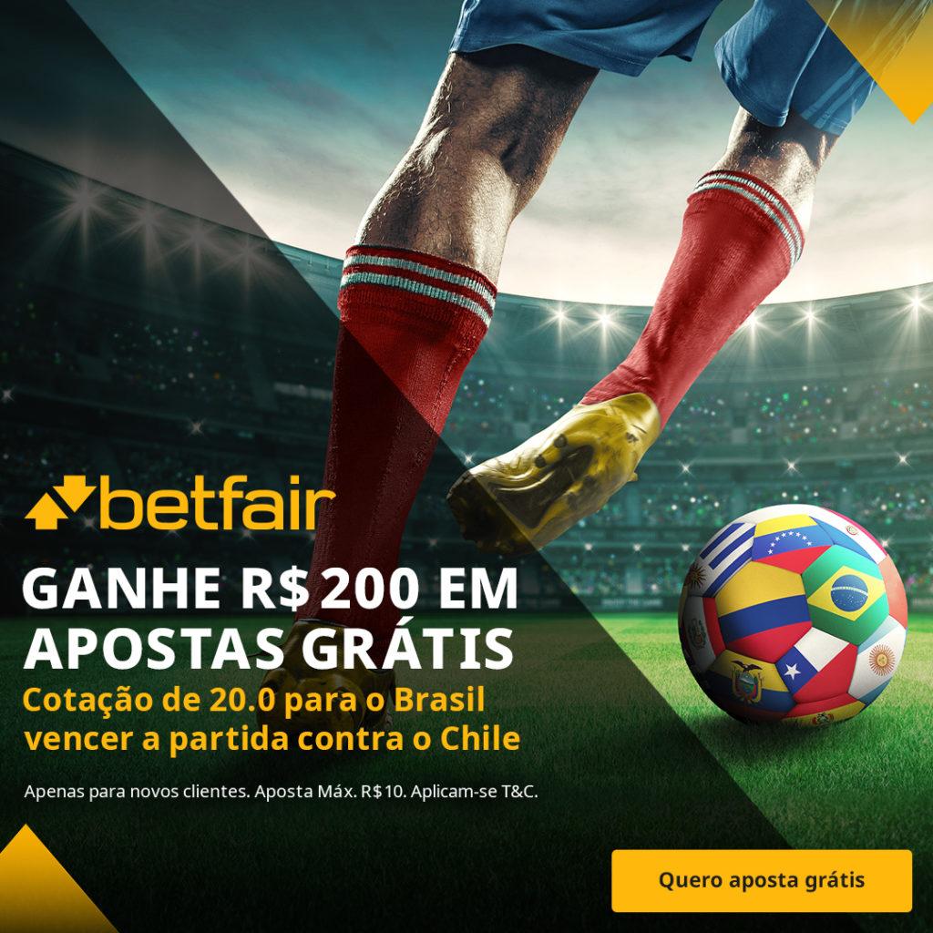 Promoção Betfair Brasil x Chile