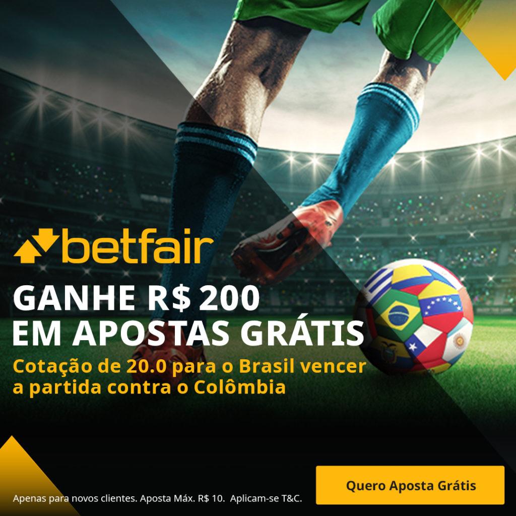 Promoção Betfair Brasil x Colômbia