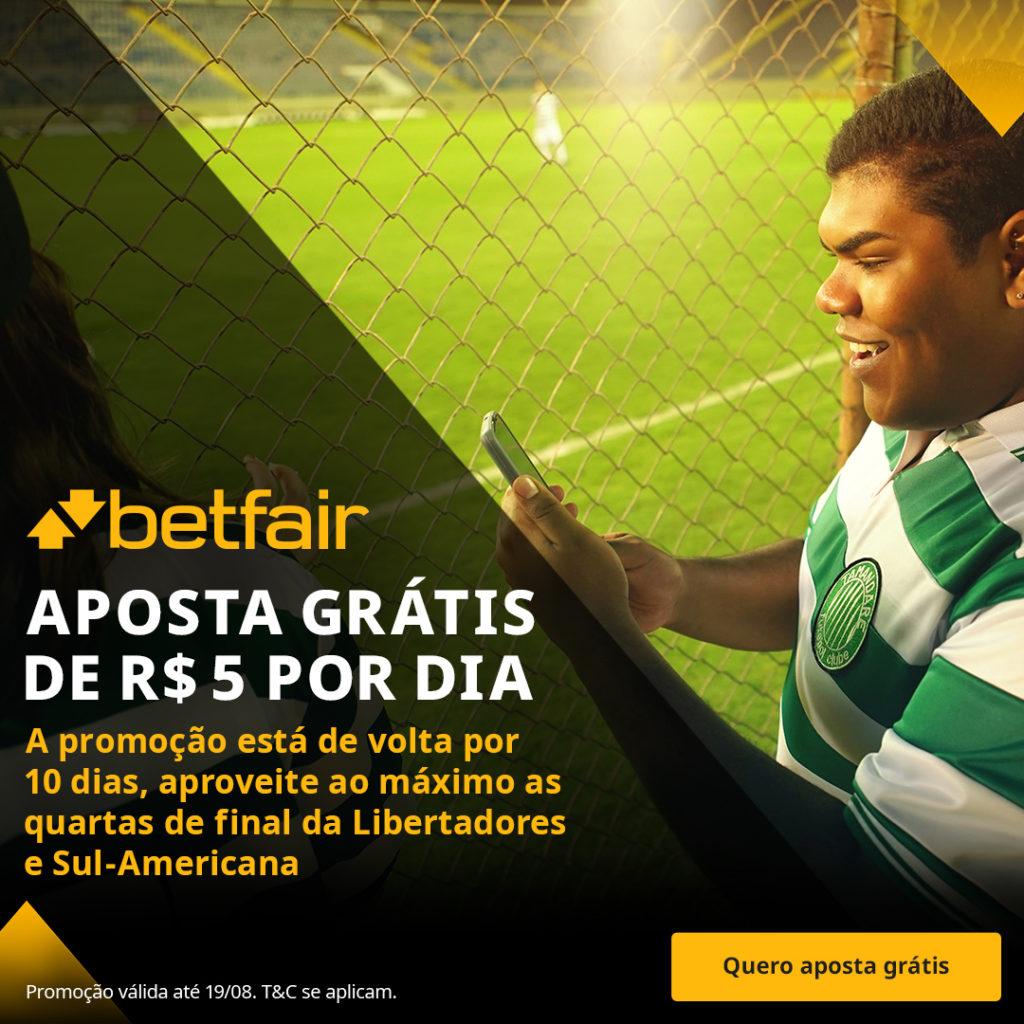 Promoção Betfair Aposta Grátis de R$5 por dia